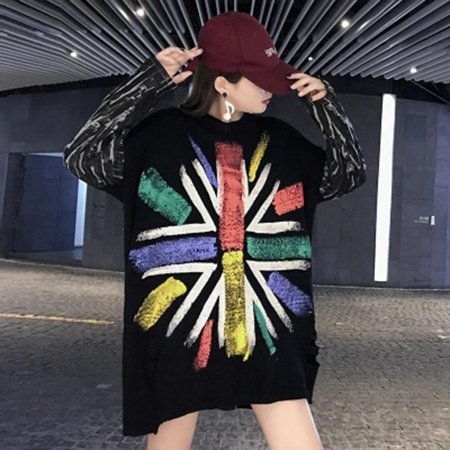 Creux Black Femmes Robe 50e0088 2018 Patchwork Lâche Jack Out Impression Union Pull Back Noir Automne SBnRpAwq
