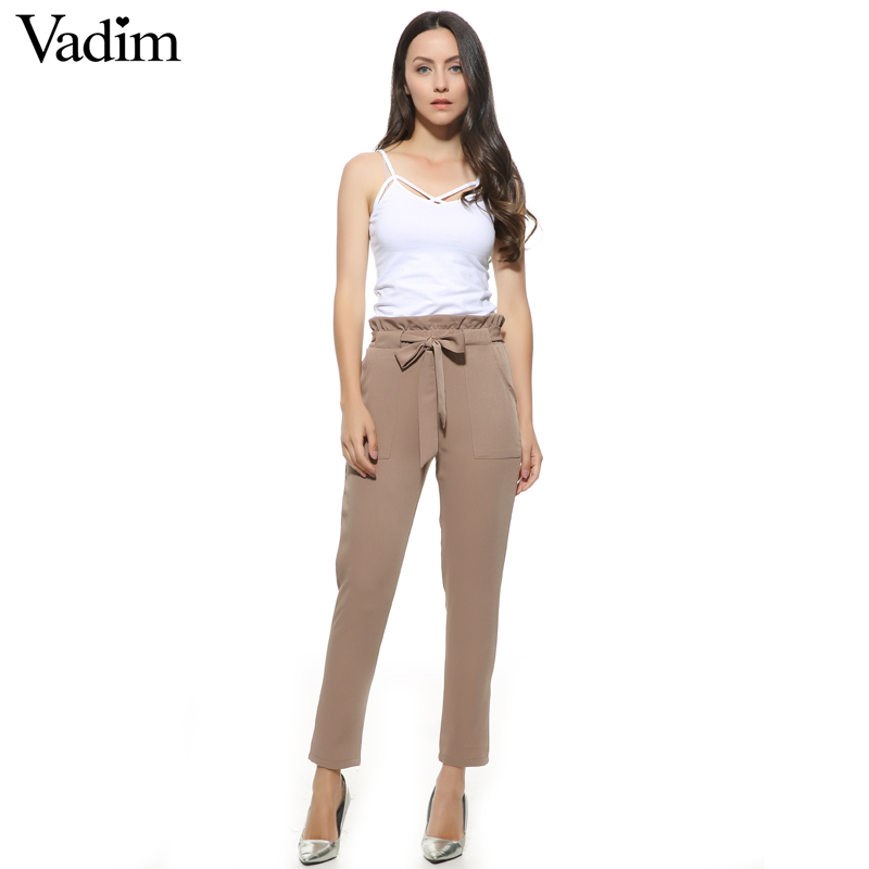 discount collection quality large assortment US $12.75 25% OFF|women OL chiffon high waist harem pants bow tie  drawstring sweet elastic waist pockets casual trousers pantalones ZC047-in  Pants & ...