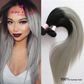 Ombre straight clip in human hair extensions ombre grey human hair clip ins full head 7pcs/set 100g 8a human virgin hair