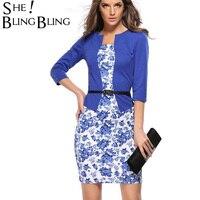 2017 Summer Dress Style Dresses Bodycon Women Fashion Sheath Sexy Office Lady Flower Patchwork Tunic Patchwork