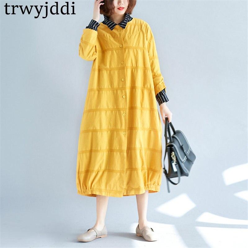 2018 New Spring Autumn Women   Trench   Coats Korean Round Neck Literary Loose Long Windbreaker Cardigan Coat Female A1263