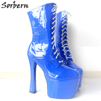 Sorbern New Sexy 20 cm High Heel Shoes +9 Platform Custom shoes lace up Ankle cleated platforms high heel Party Shoe