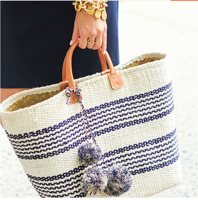 Caker Brand 2017 Women Straw Bag Contrast Color Women Stripe Handbag Large Big Tote Pattern Women Beach Colorful Tassel Bag купить в Москве 2019