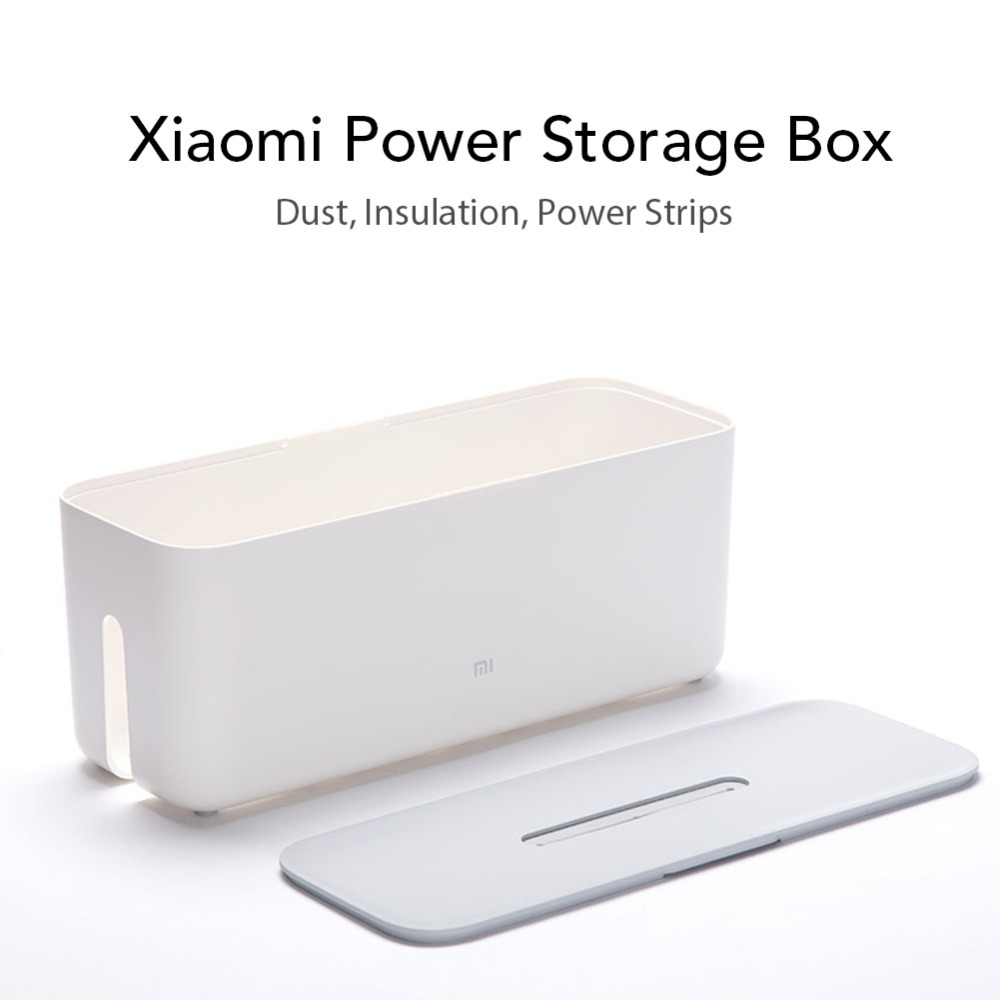 Xiaomi Power Cable Collector Cable Storage Box Cord Organizer ABS Storage Box Detachable Cover Simple And Stylish Design White