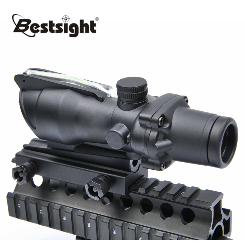 Trijicon ACOG 4X32 Red Dot Sight Tactical Optical Rifle Scope Real Fiber Optics Green Illuminated Crosshair Hunting Scopes trijicon acog 4x32 red dot sight scope tactical hunting scopes real green red fiber riflescope optics for rifles