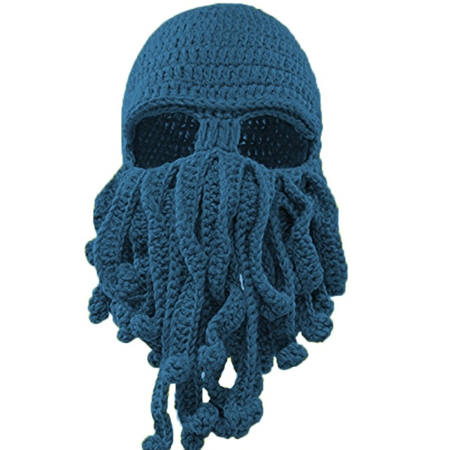 e2af2befdae 2017 New Novelty Funny Tentacle Octopus Hat Crochet Beard Beanie Men Women  Knit Wind Mask Cap