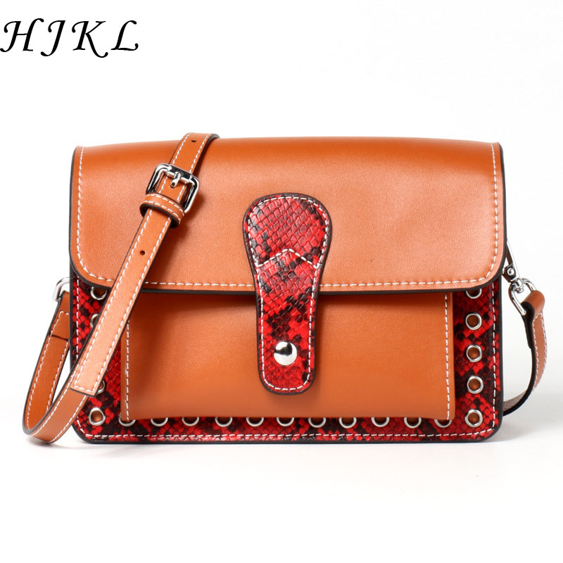 GenuineLeather Bags Snake Bag Women Handbags Shoulder Side Small for Ladies Hand Crossbody Handbag Luxury Designer Brand Realer