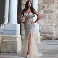 Bling Bling Cristal Rhinestone Prom Dress 2017 Sexy Side Dividir Longo Vestido de Noite Formal vestido de baile longo TB1631