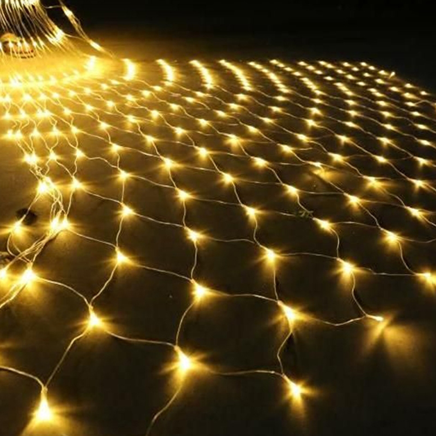 Thrisdar 2x2M 3x2M 6x4M LED Net Mesh Fairy String Light Outdoor Garden Patio Window Curtain Xmas Wedding Holiday Garland Light