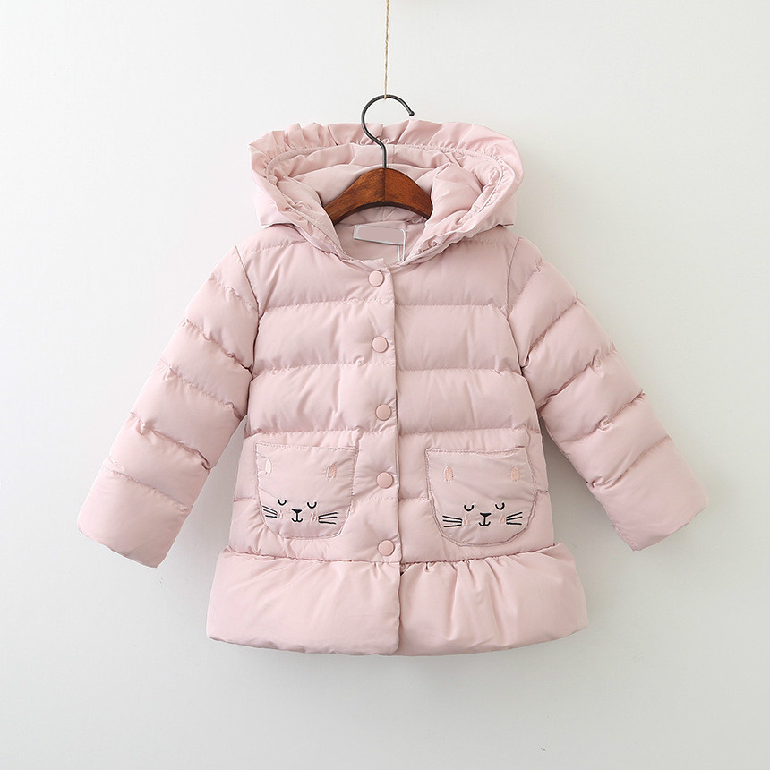 DFXD Children's Winter Jackets 2017 High Quality Pink Warm Padded Coat Cute Cat Print Hooded Princess Outwear Girls Thick Coats cat print hooded dress