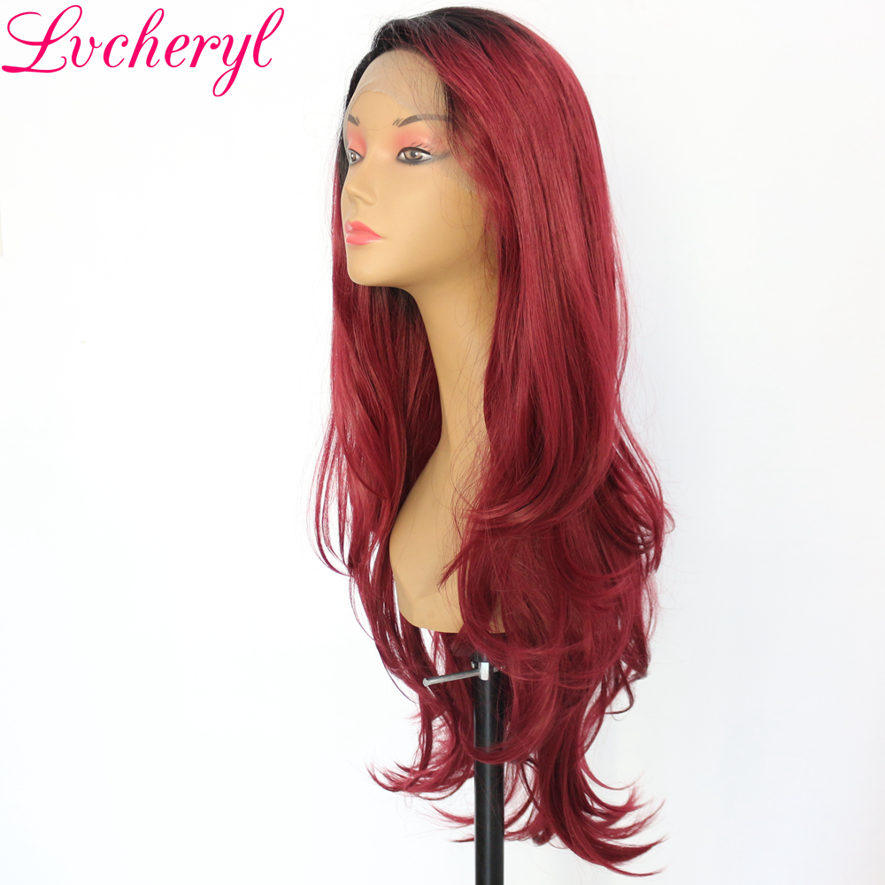 Lvcheryl Ombre Long Natural Wave Black To Red High Temperature Fiber Full Density Natural Synthetic Lace Front Women Wigs