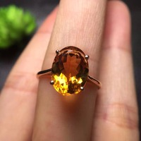 Fine Jewelry Real 18K Rose Gold AU750 Customized Size Natural Citrine Gemstones Chic Diamonds Female Anniversary Gift Fine Rings