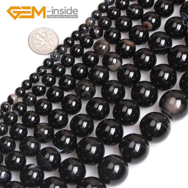 AAA 4mm 5PCS Black Agate Onyx Round Loose Beads Gemstone