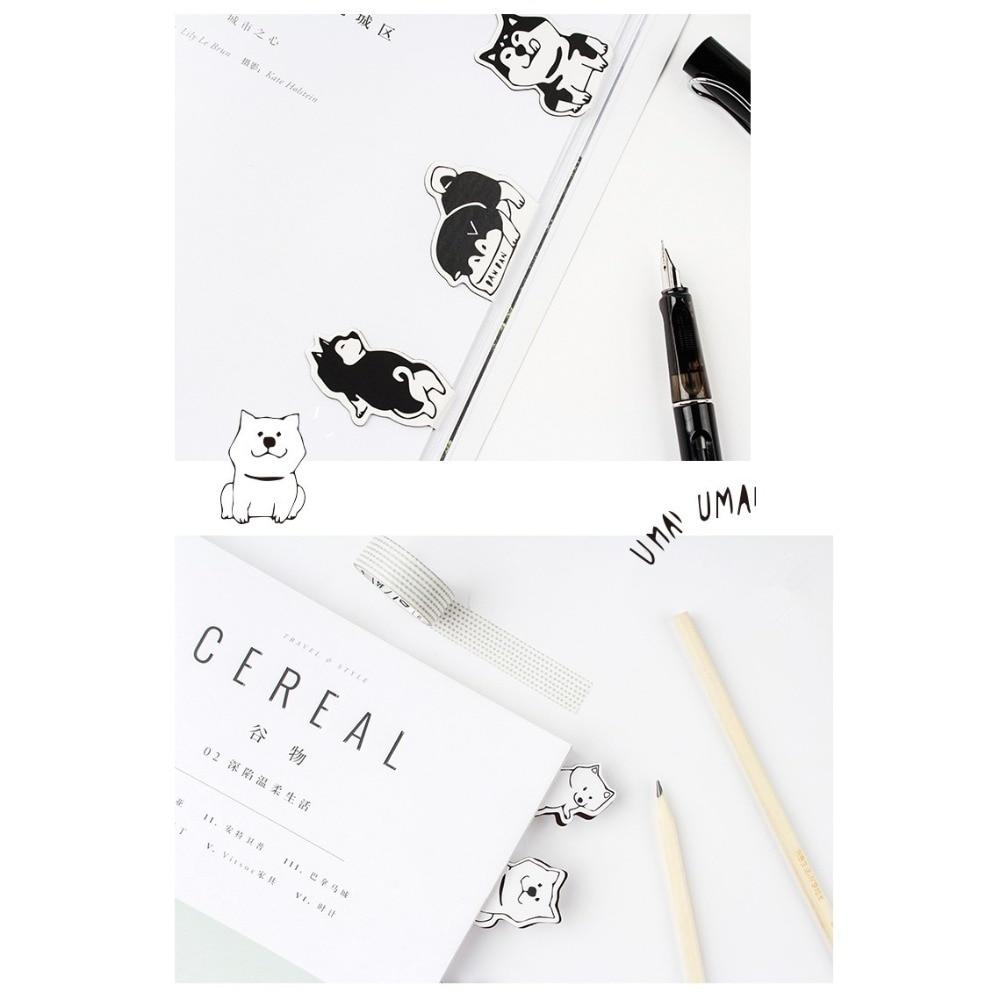 Купить с кэшбэком 4 pcs Cartoon doge dog magnet bookmarks Mini magnetic clips book marker Stationery Office School supplies Material escolar F166