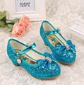 Children girl's Snow queen Elsa girl princess Crystal Rhinestone bowknot shoes single  fashion dance Leather shoes 28-38 6651