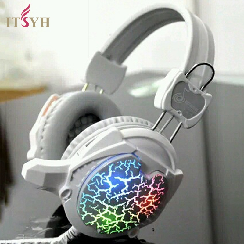 ITSYH HEADPHONE Over-ear Computer Gaming Stereo Super Bass Headphone Headset With Mic LED Colorful Light 2.2m cable 3.5 LF01-021 ovann x17 gaming stereo bass headset headphone earphone over ear 3 5mm