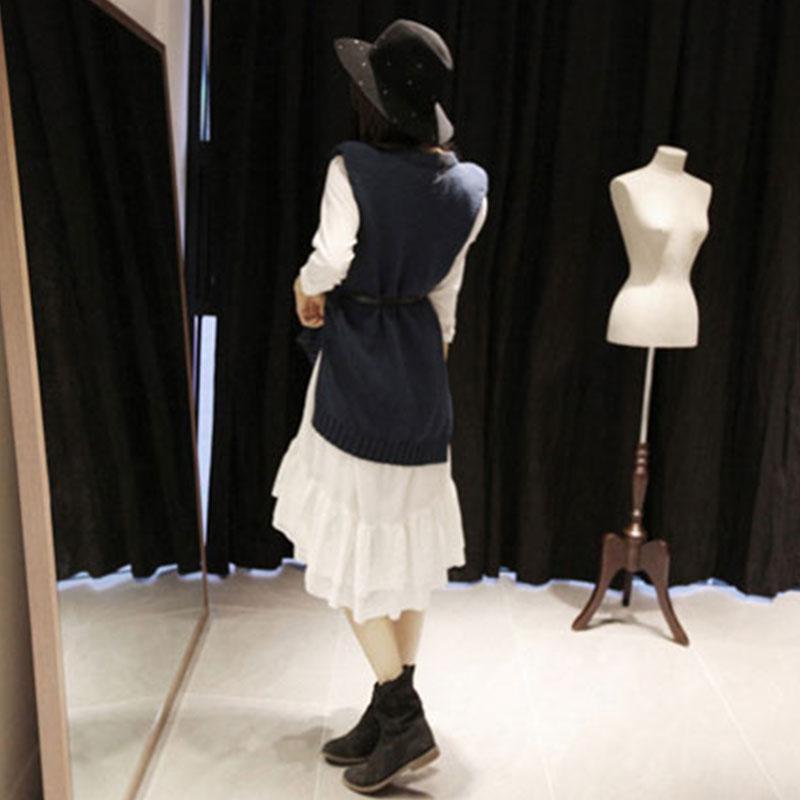 Jupe Automne Tricoté Mode Rond Laine Col De Nouvelle Costume Chandail See Femelle Deux Chart Hiver 2018 HHPqwCp