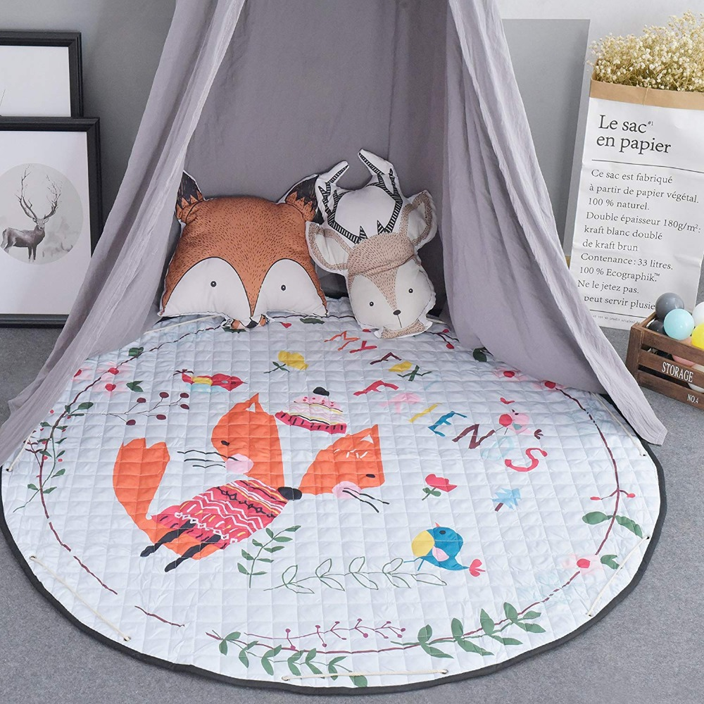 Round Baby Kids Padded Play Indian Floor Mat Nursery Playmat Kids Rug Carpet Mattress Teepee Tent Mat