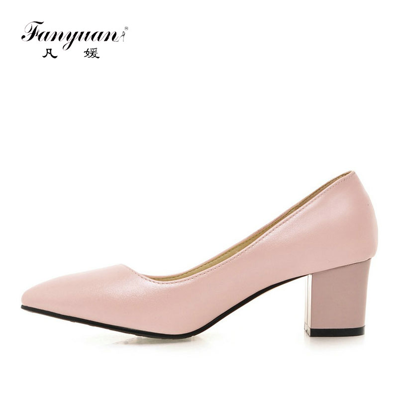 ФОТО Hot Sale Spring Shoes Women Pumps Sweet Girl's Shoes Fashion  Office Career Lady Heel Pointed Toe Female Low Heel Square Heel