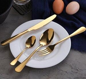 Image 3 - KuBac Hommiทองชุดบนโต๊ะอาหารสแตนเลสช้อนส้อมชุด30ชิ้นทองมีดมีดมีดทองวางสินค้า