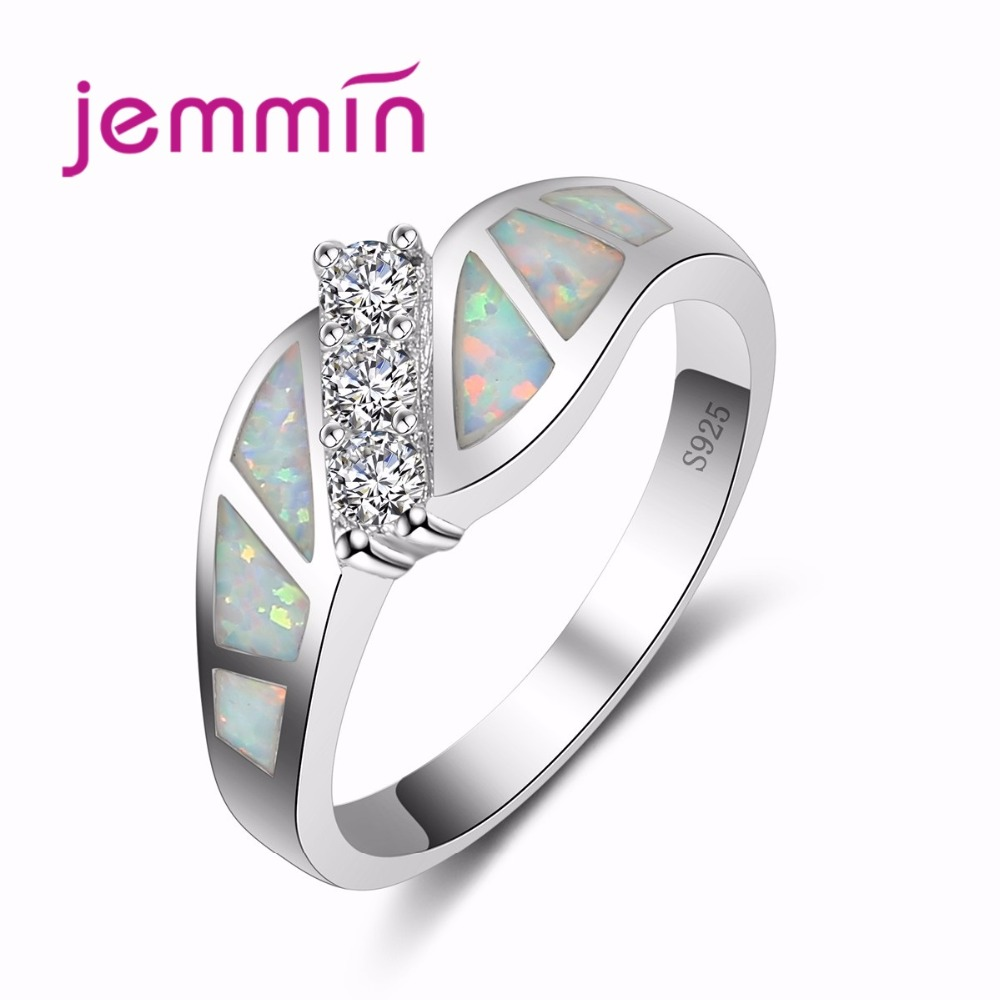 Jammin Rainbow Fire Opal Rings Elegant White  Crystal Jewelry S925 Sterling Sliver Ring For Women Wedding Fine Ring