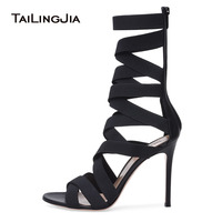 Black High Heel Strappy Sandals Elastic Band Wrapped Mid Calf Boots Woman Heels Summer Shoes Women Stilettos Ladies Summer 2019
