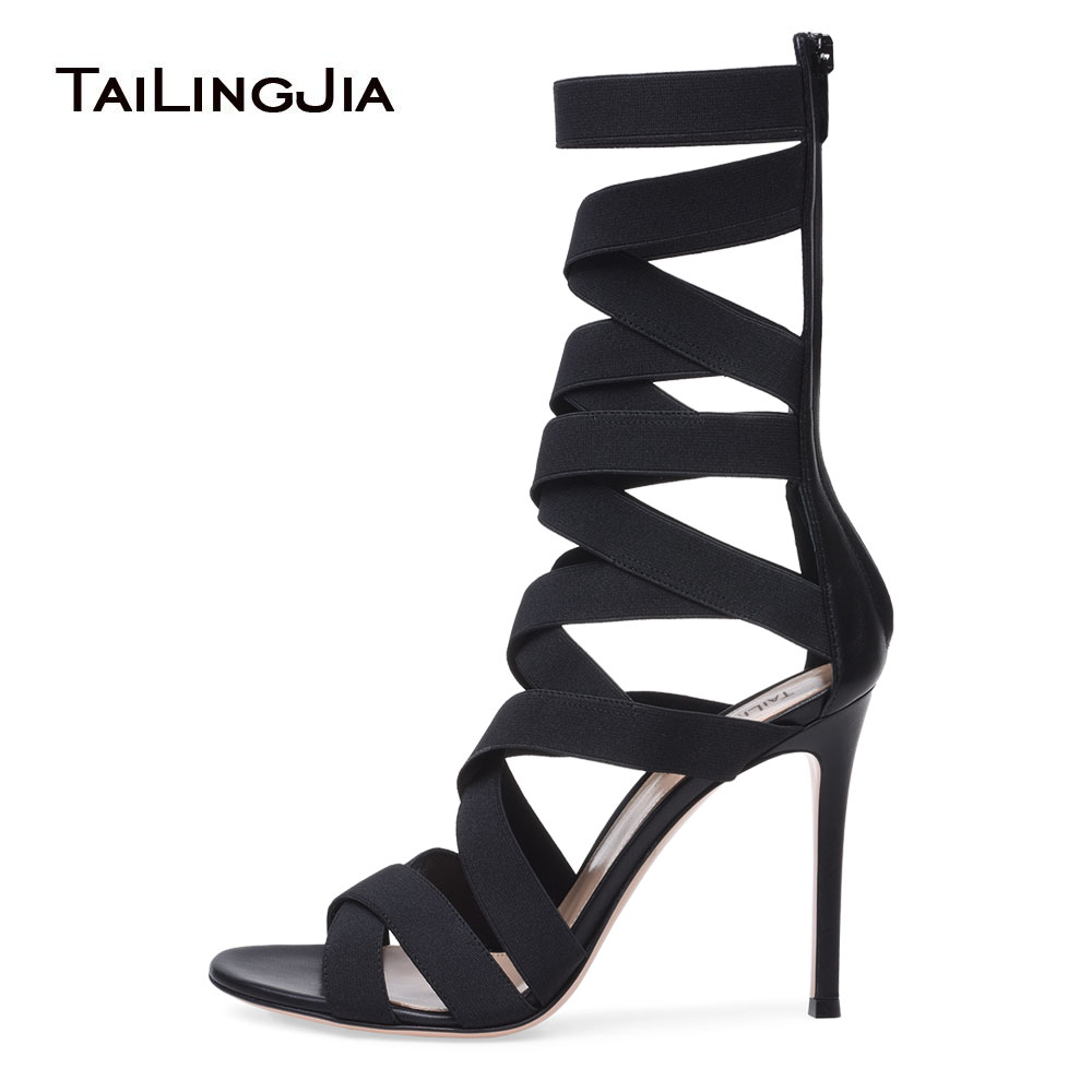 Black Mid Calf Stretch Boots Elastics Band Wraps High Heel Strappy Sandals Dress Shoes Women Stilettos Ladies Summer Heels 2018 elastics and elastomerics