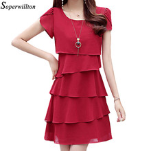Dress Summer 2018 Women s Elegant Dresses Plus Size Red Pink Black Chiffon  Casual Short Vestido Female Cocktail Party Ladies J1 7da67c6b6354