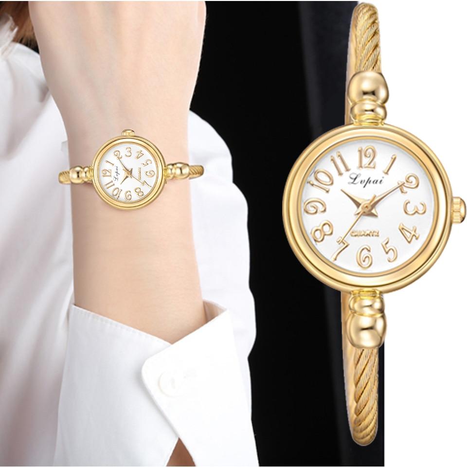 Lvpai Women Small Gold Bangle Bracelet Luxury Watches Stainless Steel Ladies Quartz Wristwatch Brand Casual Women Dress Colck