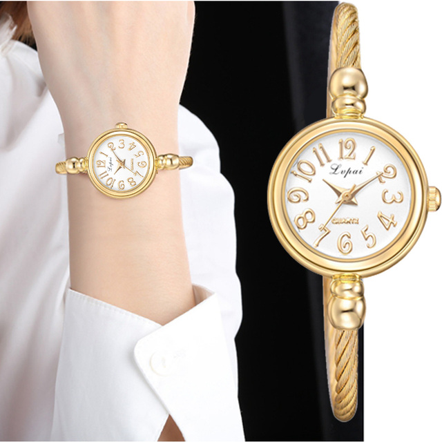 Lvpai Women Small Gold Bangle Bracelet Luxury Watches Stainless Steel Ladies Quartz Wristwatch Brand Casual Women Dress Colck