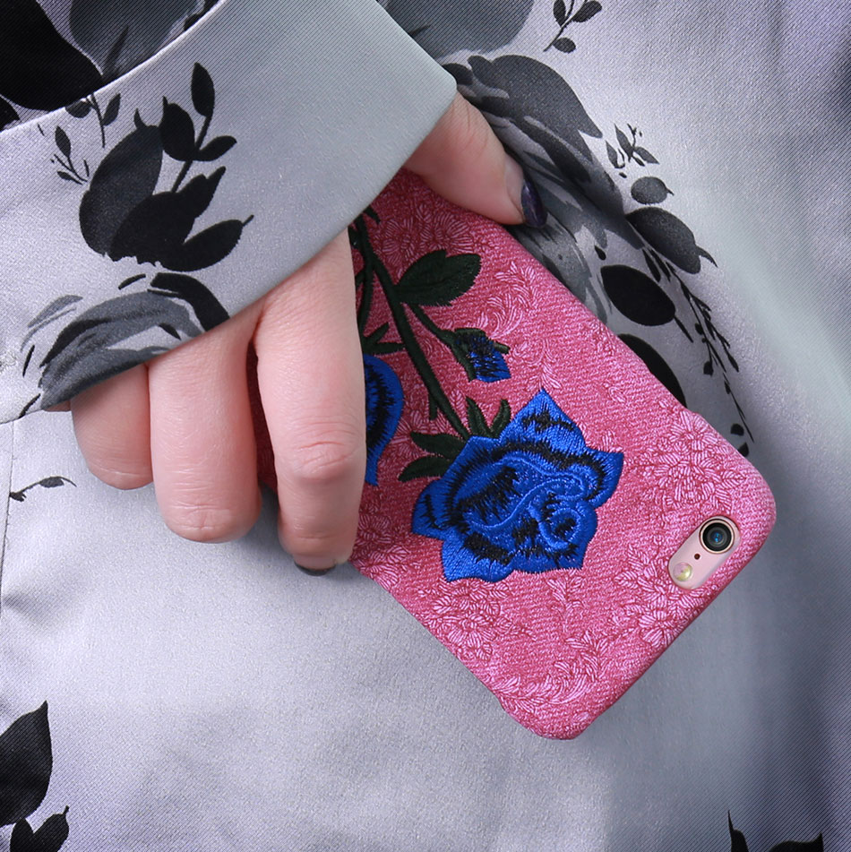KISSCASE Beautiful Rose Flower Cover For Apple iPhone 6 6S Plus 7 7 Plus Case Fundas Coque Embroidery Pattern For iPhone 6 7 6S (3)