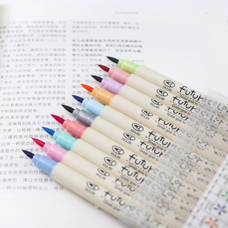 10 Pcs Soft Color Brush Pen Calligraphy Pens For Writing Signature Marker Stationery School Art Supplies Canetas Escolar FB805