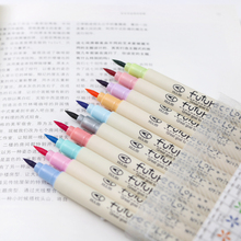 Buy 10 pcs soft Color brush pen Calligraphy pens for writing signature marker Stationery School Art supplies Canetas escolar FB805 directly from merchant!