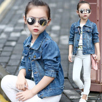 Spring Autumn Kids Girls Boys Jean Jacket Baby Turn Down Collar Single Breasted Long Sleeve Cotton