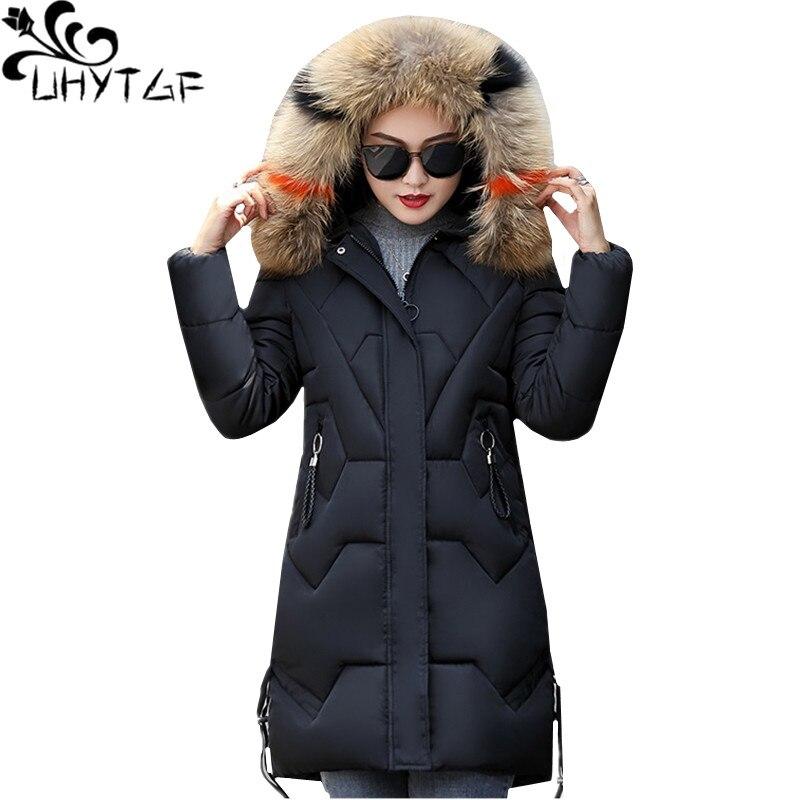 UHYTGF Nnew пуховик с меховым воротником и капюшоном, зимняя теплая верхняя одежда, парка, женский толстый пуховик с защитой от холода, хлопок, пл...