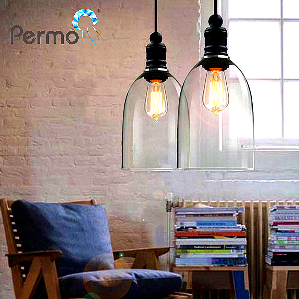 Permo Industrial 7 Clear Glass Pendant Lights Vintage Black Pendant Ceiling Lamps Modern Dining Hanglamp Luminaire