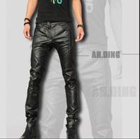 Новые модные мужские европейские и английские кожаные брюки, мужские тонкие брюки, мотоциклетные кожаные брюки
