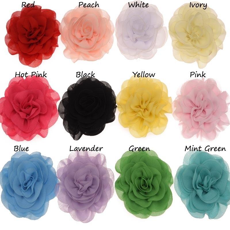 12PCS Chiffon Ruffles Flowers Hair Accessories Artificial Flower No Hair Clips Flowers For Headband Wedding Decoration Flower