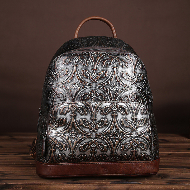 New Female Fashion Design Embossed Flower School Bag Preppy Style Vintage Backpacks for Teenager Girls Genuine Leather Bag