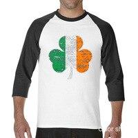 2017 Fashion Summer Style Irish Flag Funny Raglan Sleeve T Shirt Men