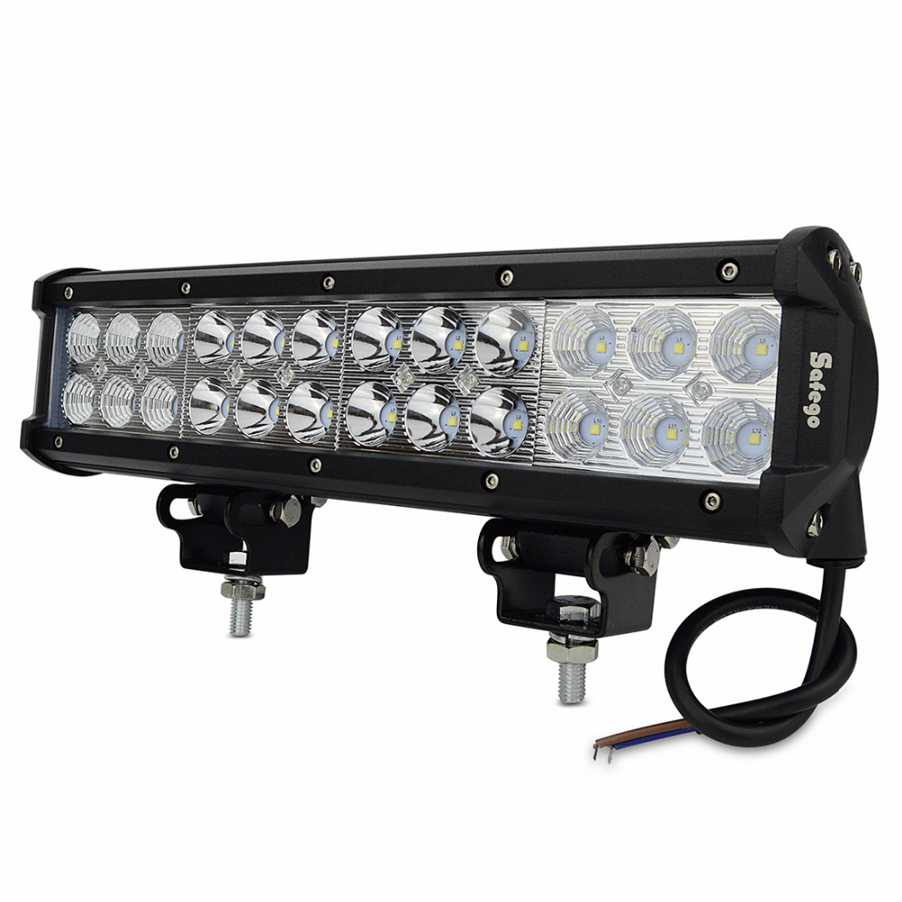 Safego 2X 12 inch 72W LED WORK LIGHT BAR FLOOD SPOT COMBO OFFROAD 4X4 ATV 27W