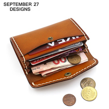 บัตรเครดิต/ID Card Caseหนังแท้Handmadeคุณภาพสูงผู้ชายRetroกระเป๋าสตางค์ขนาดเล็กBus/ชื่อผู้ถือบัตรหญิงมินิเหรียญกระเป๋า