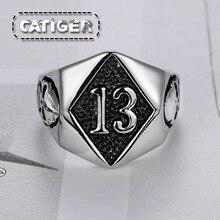 2c7695f51c98 Punk de plata blanco negro color 316L de acero inoxidable de moda trece  glamour cráneo anillo número de Rock de 13 hombres esque.