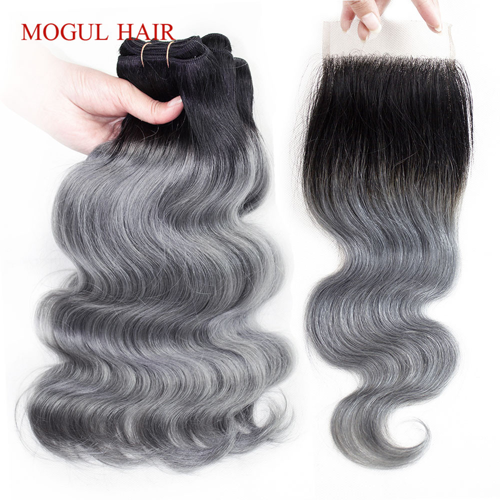 MOGUL HAIR T 1B Grey Ombre Human Hair 3 Bundles with Closure Body Wave Brazilian Remy Hair Weave Extension