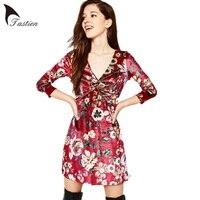 TASTIEN Vintage Imprimer Femmes Mini Robe Rouge Floral V Cou Poitrine Croix Fold Élastique Taille Mode Robe Casual Fitness Velours