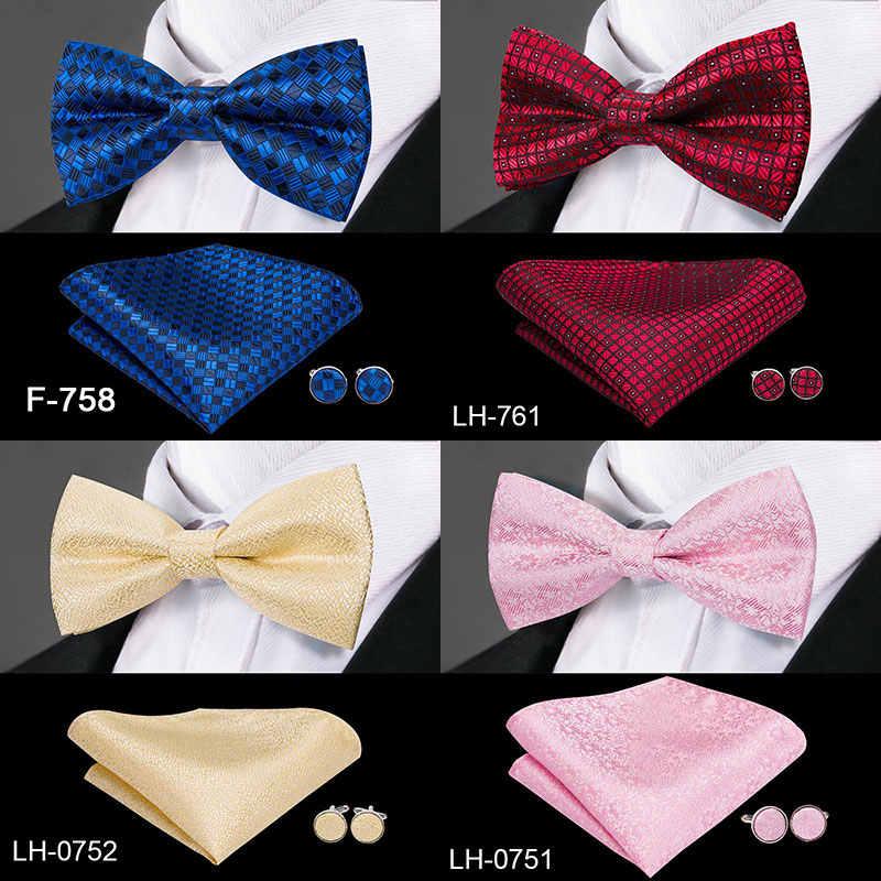 3df0eda483c8 ... 23 Styles Bow Tie Set Silk Butterfly Pre Tied Bowtie Pocket Square  Cufflinks Set Men's Wedding ...