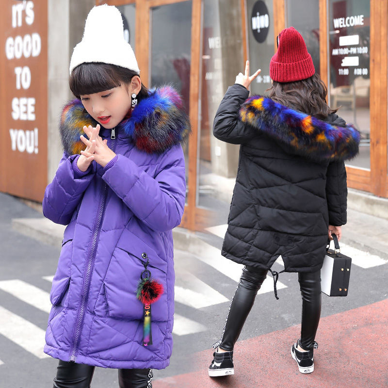 2017 New Fashion Girls Long Padded Jacket Children Winter Coats warm baby hooded coat thick Kids Outerwears for cold jacket new 2017 winter baby thickening collar warm jacket children s down jacket boys and girls short thick jacket for cold 30 degree