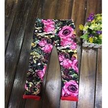 Girls Pants cotton Leggings Plus velvet thickening pants for girls full length printing straight children elastic waist