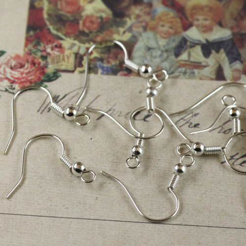 QYFree shipping wholesale 20*18mm Copper plating silver ear hook earrings findings and components, earring accessories for jewel