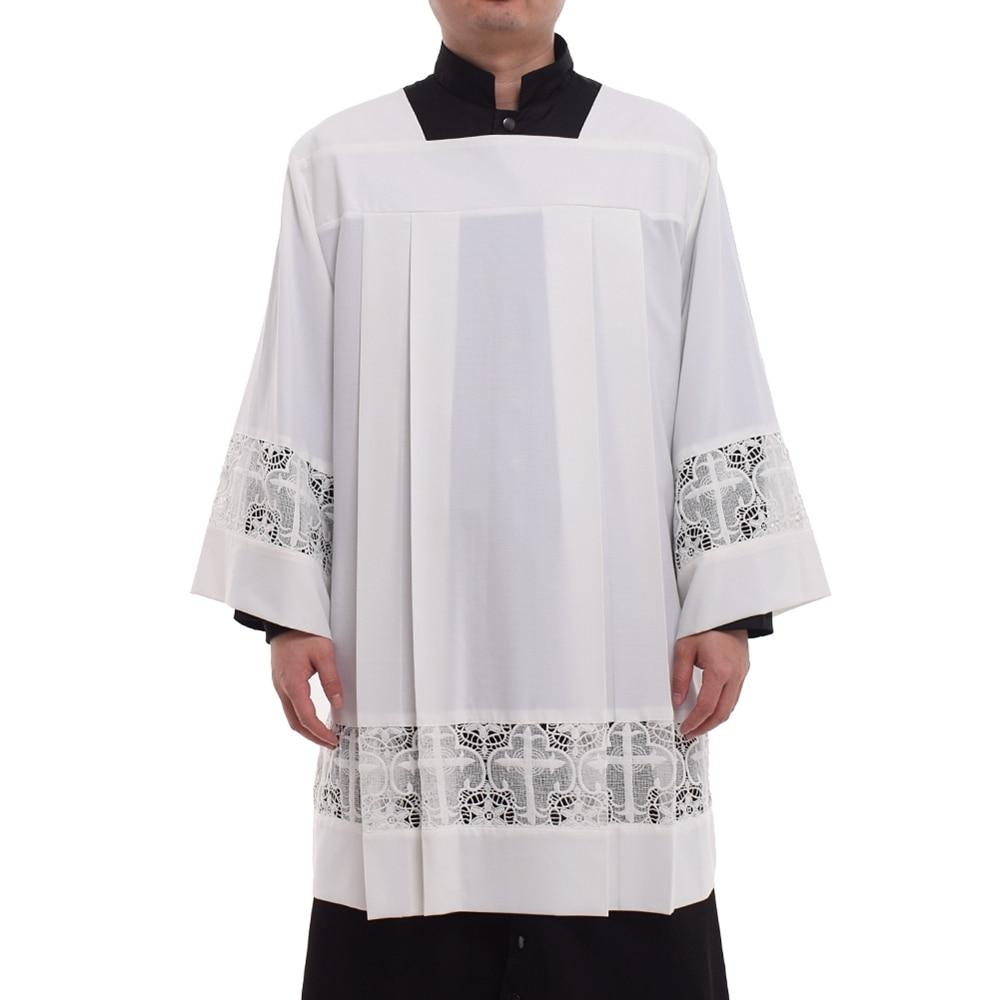Église catholique messe surplis liturgique Cotta vêtement col carré Latin croix Robe